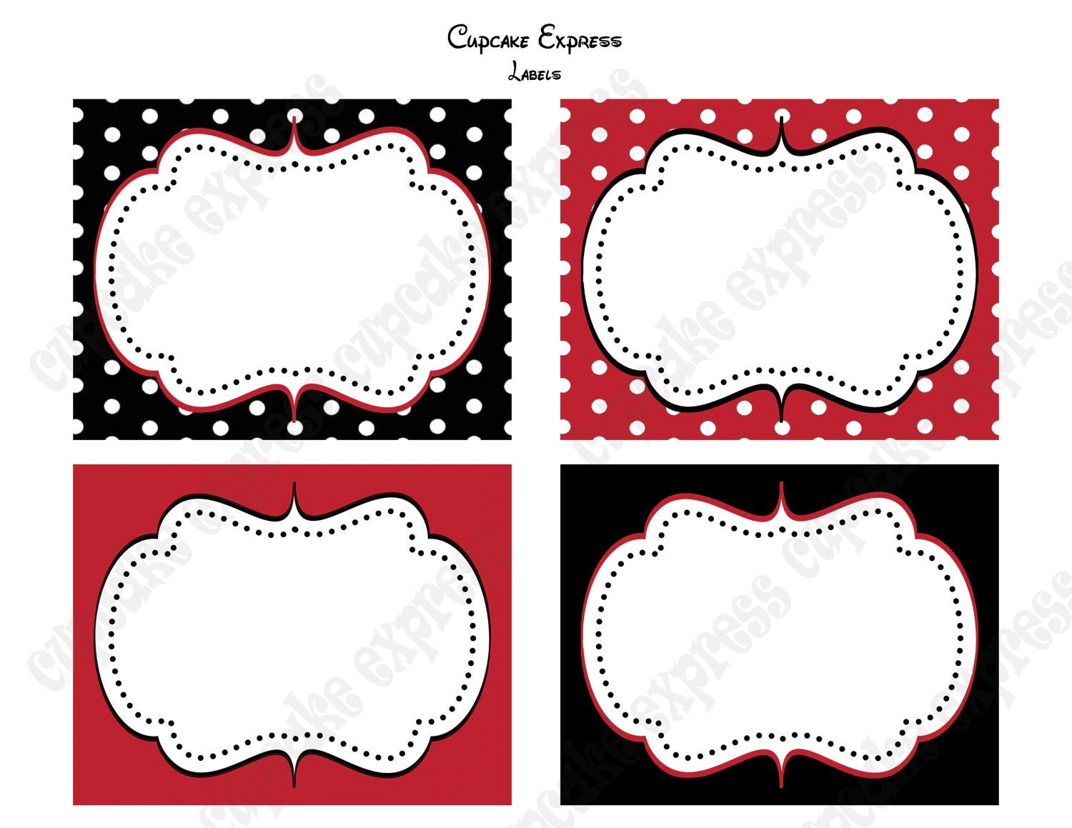 Store Banne 4.5 X3 5 Minnie Mouse Food Labels Birthday Party Printable Red