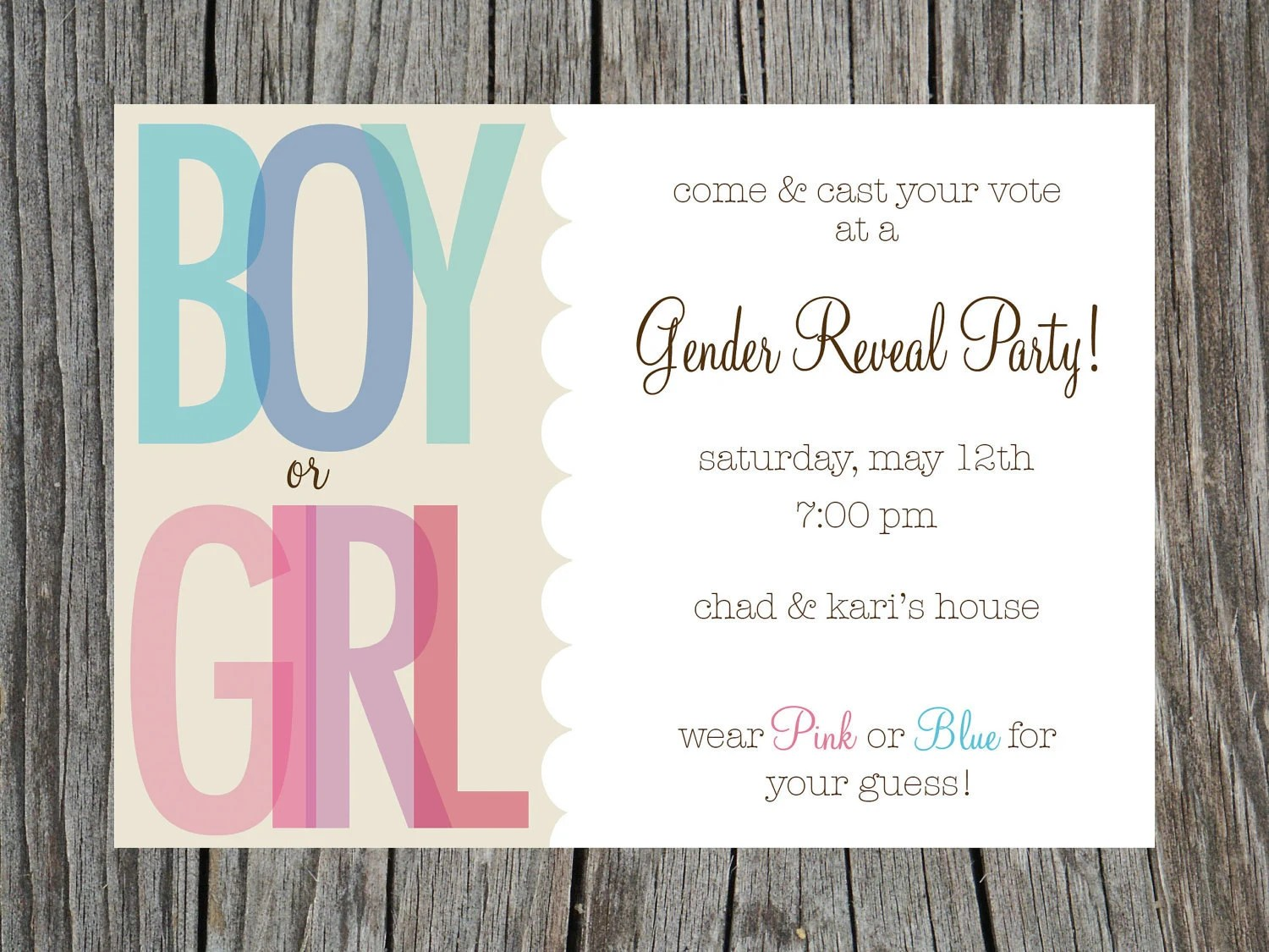 Items Similar To Gender Reveal Party Invitation Printable