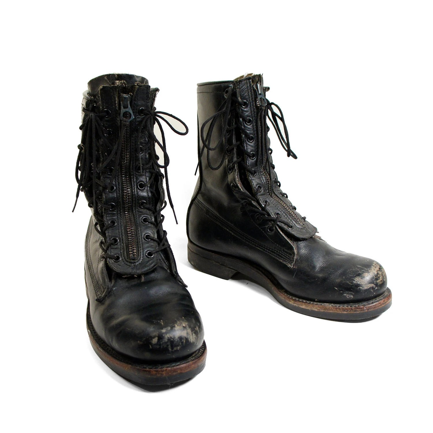 Women39s Vintage Combat Boots In Black Leather For Size 7