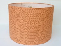 Medium Drum Lamp Shade in Soft Orange Geometric Fabric