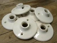 Vintage Porcelain Light Fixture Parts 6 Paulding Industrial