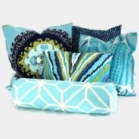 Trina Turk Aqua Trellis Outdoor Bolster Pillow Cover