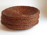 Vintage Wicker Paper Plate Holders Set of by ...