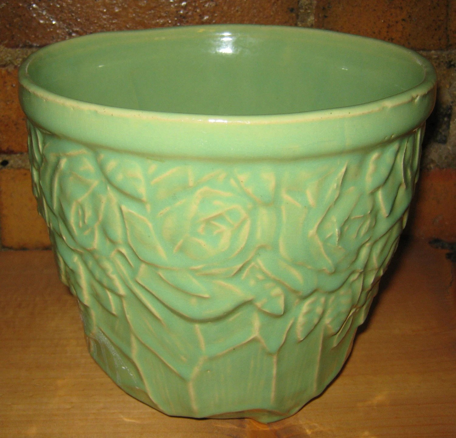 Green Planter Vintage Mccoy Pottery Planter Green Jardiniere With Rose