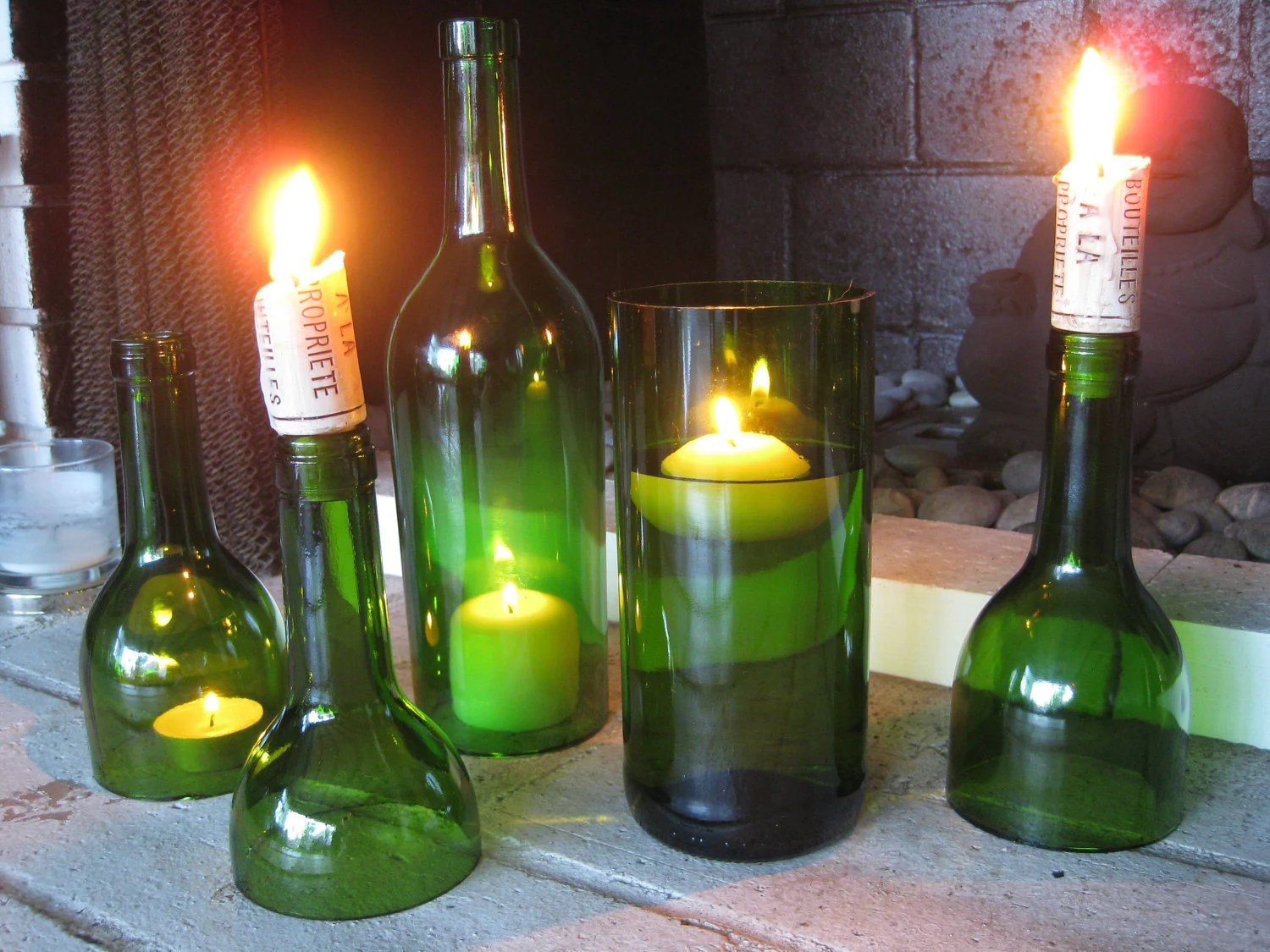 Empty Wine Bottle Holder Set Of Emerald Green Wine Bottle Candle By Hauterubbish On