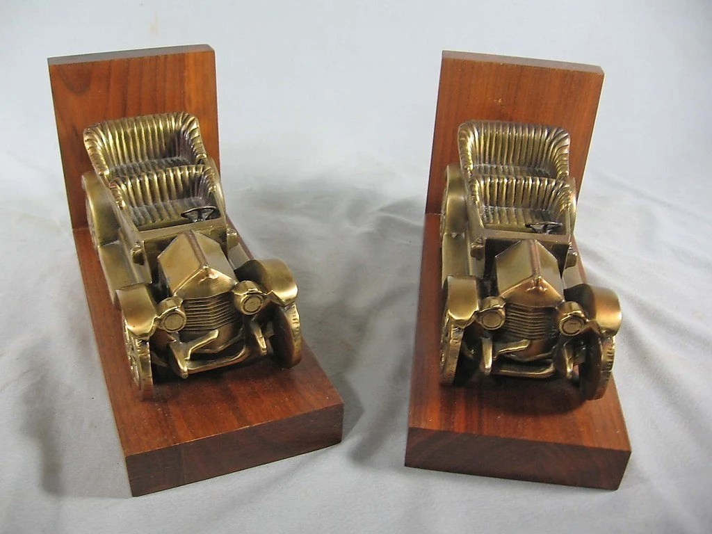 Classic Bookends Antique Car Brass Bookends Chevrolet Series C 1911 Classic Six