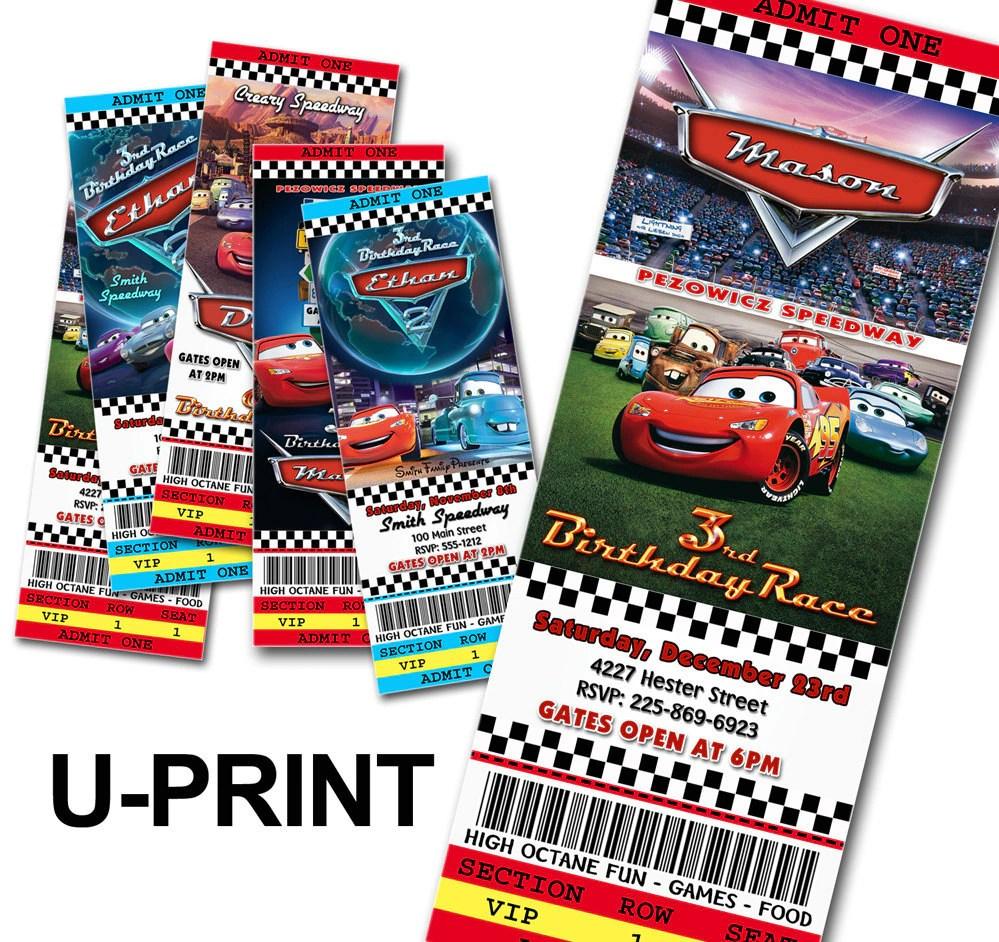 Diy Cars Birthday Invitations Ticket Style U By Fancythisparty