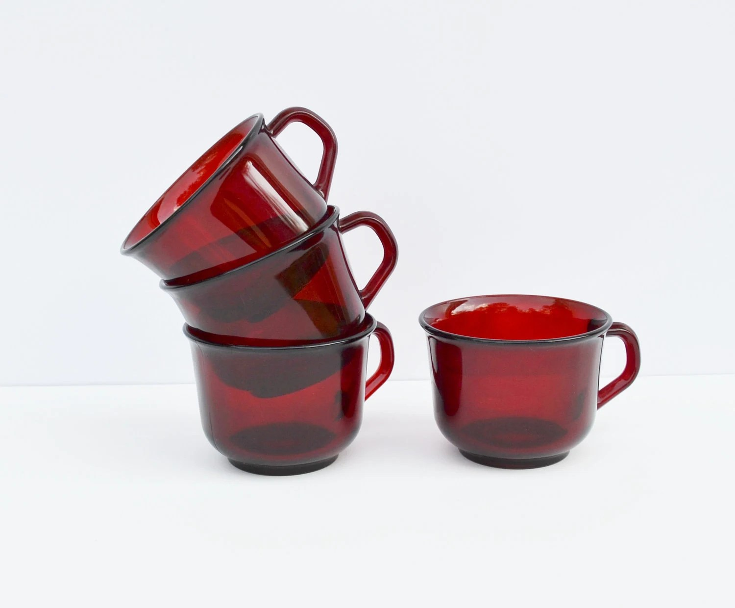 Vintage Red Glassware Ruby Red Arcoroc Of France Set Of 4 Tea