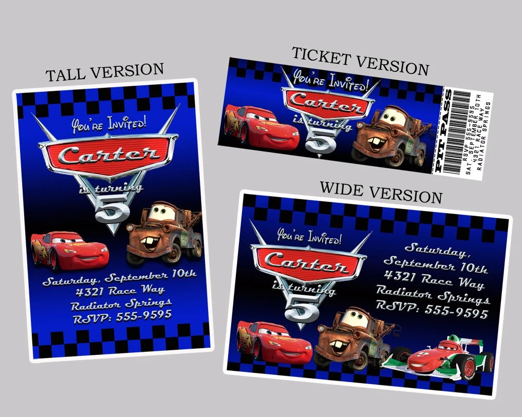 Disney Pixar Cars 2 Invitations Personalized By