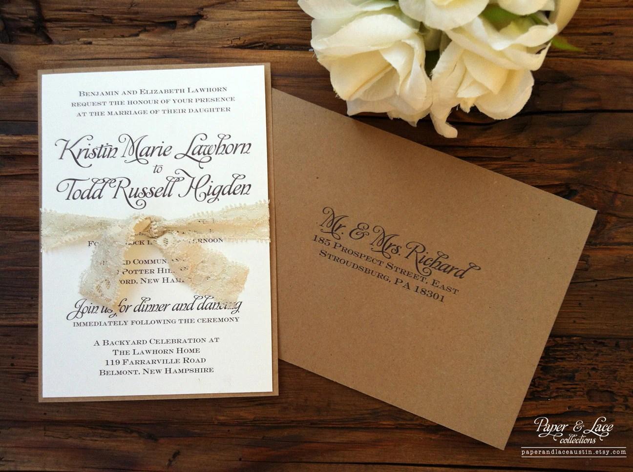 rustic wedding invitation kraft lace etsy wedding invitations zoom