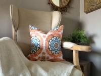 Blue and Orange Medallion Ikat Pillow Cover 18''