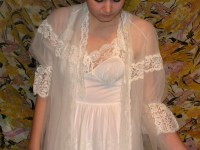 Vintage peignoir bridal set 1950s white wedding night with