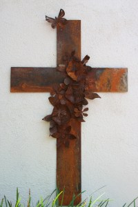 Metal Cross Wall Art Large with Hibiscus Flowers and Butterfly
