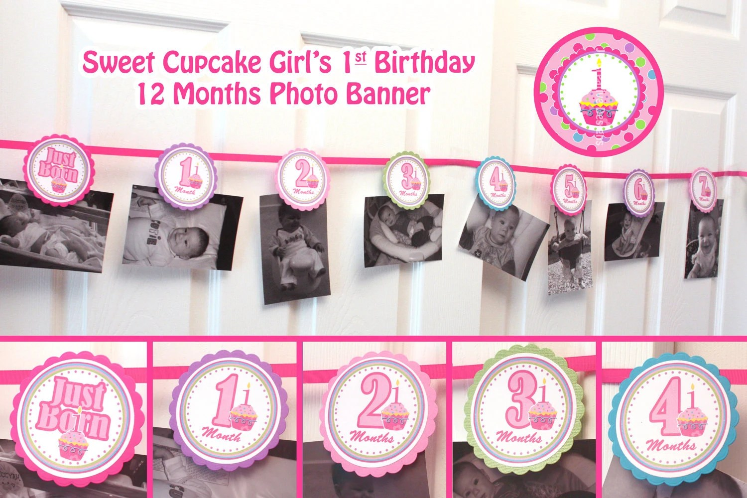 Photo banner picture banner 1st birthday banner girl 12 month photo - first birthday banner