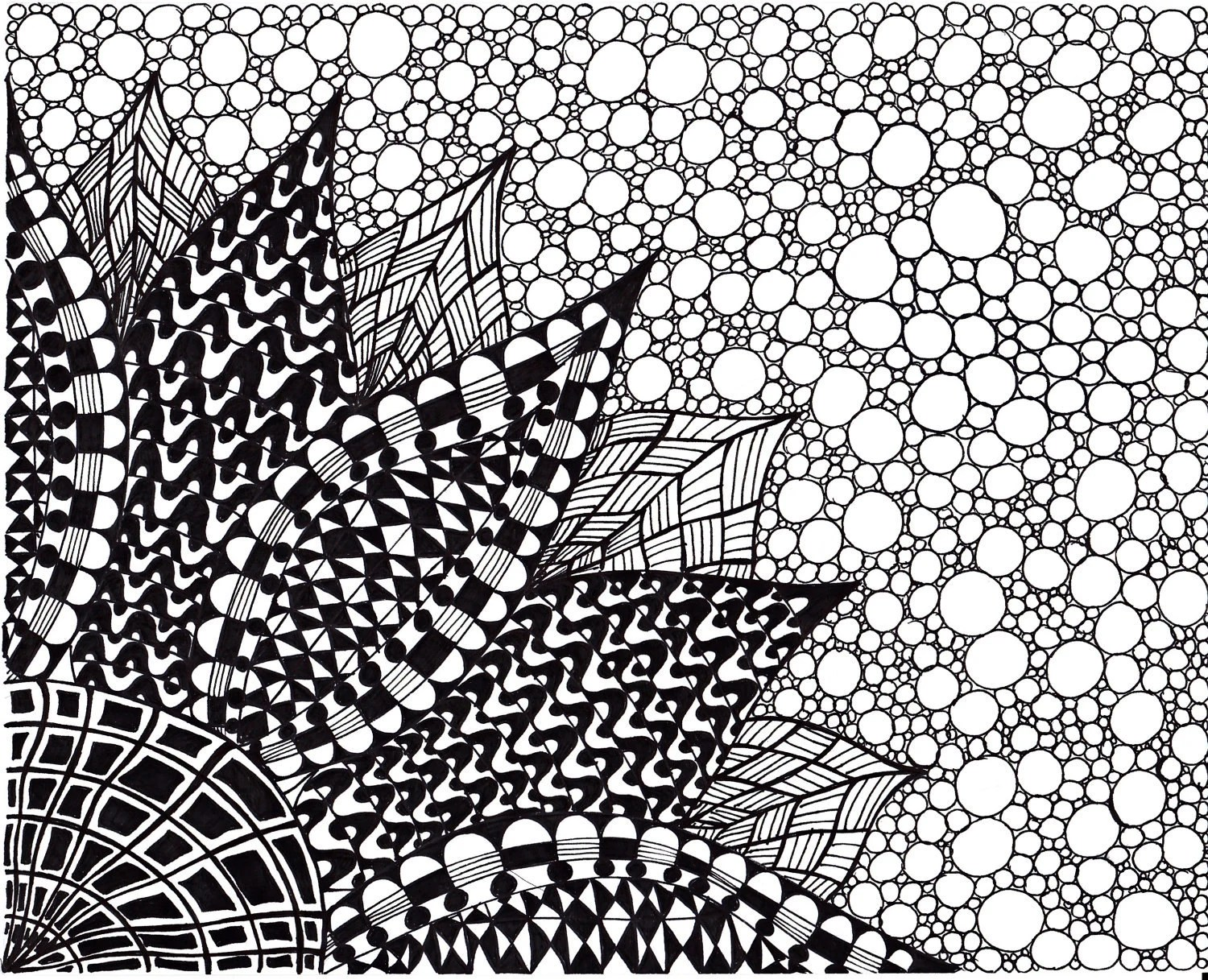 Art Print Black And White Abstract Ink Drawing Zentangle Inspired Art Flower Black And