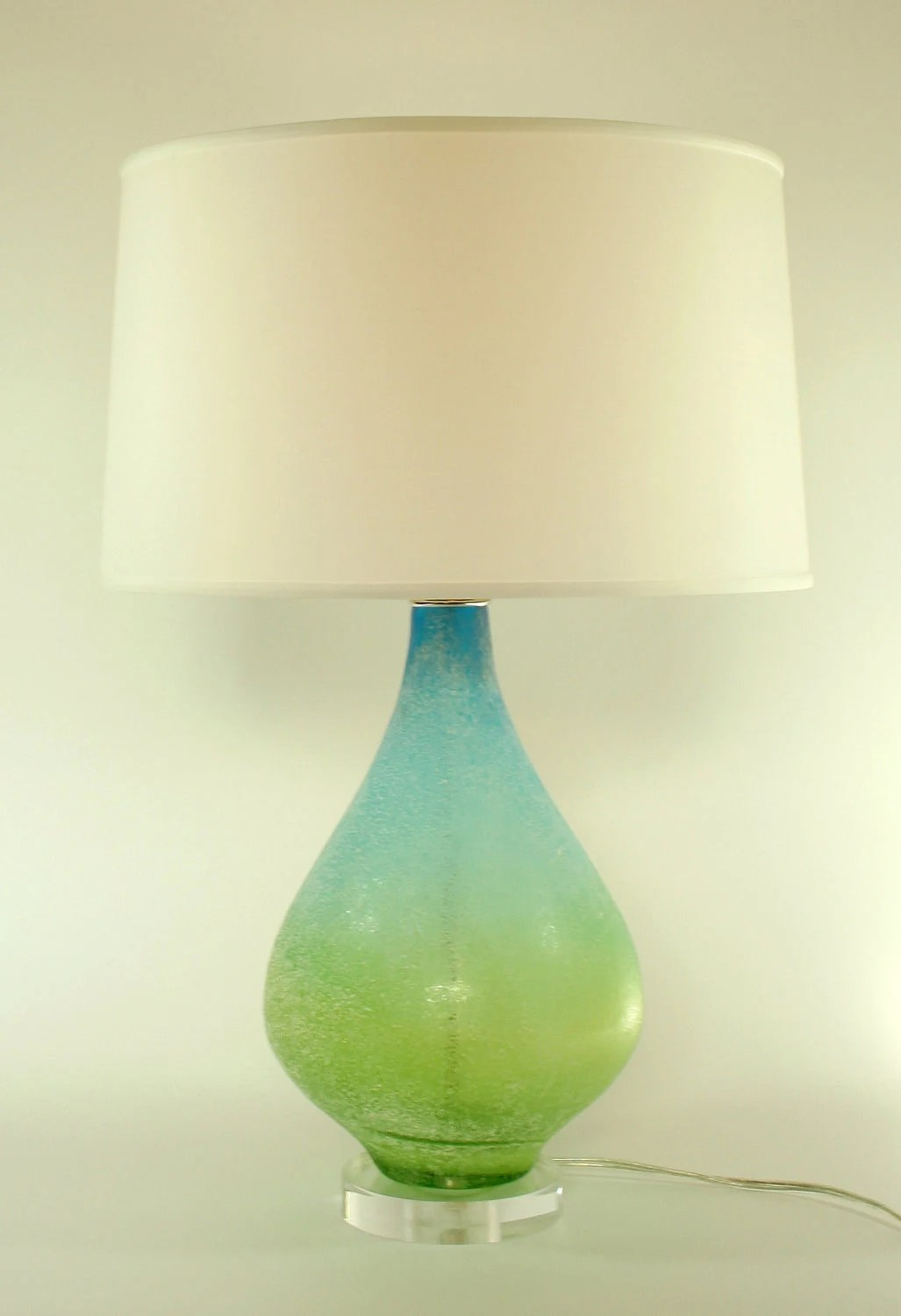 Glas Lamp Blue Green Glass Lamp With 16 Silk Shade