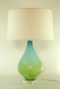 Blue Green Glass Lamp with 16 Silk Shade