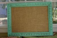 Shabby Chic Bulletin Board in Tiffany Blue w/ Burlap Medium