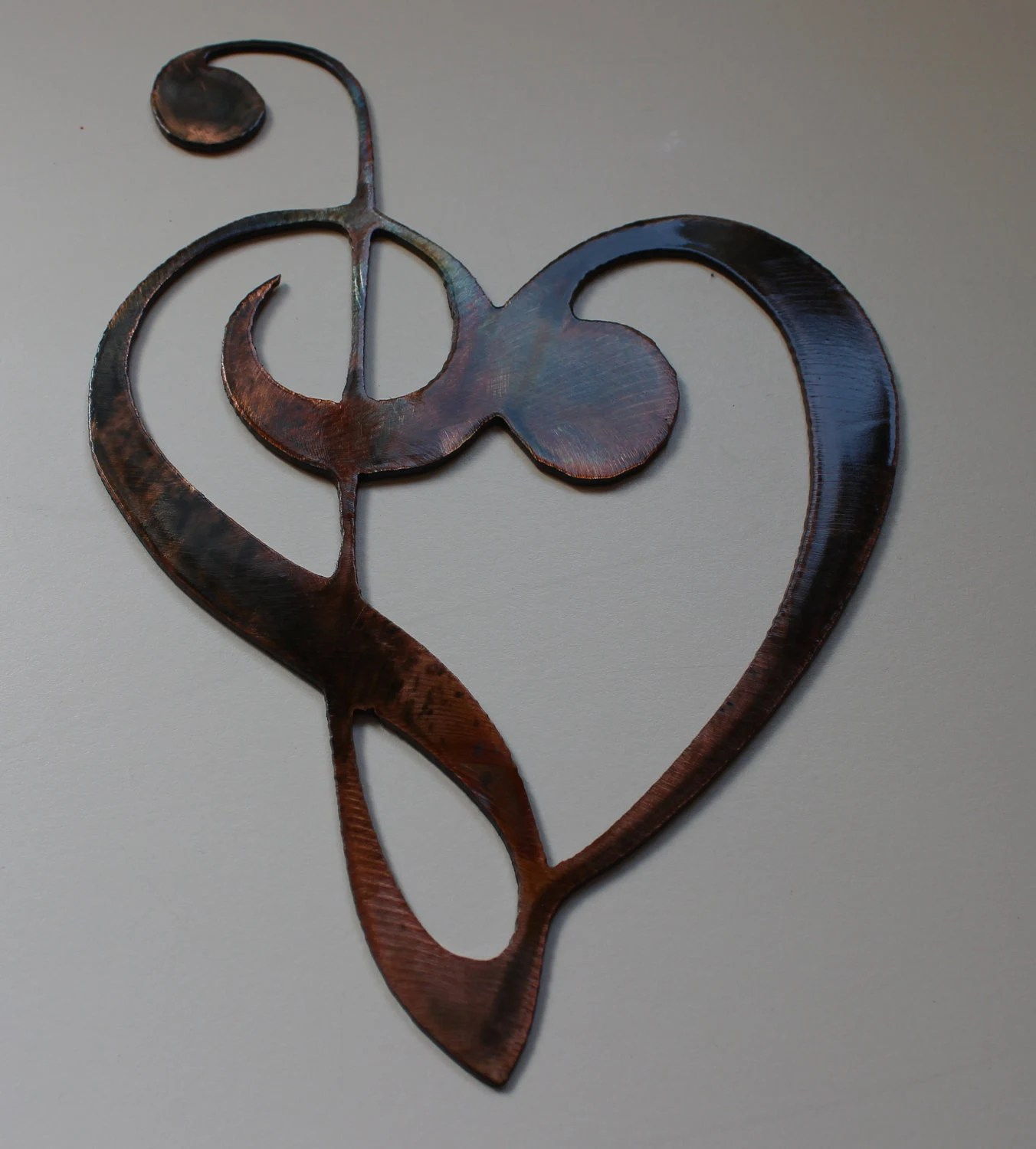 Musical Wall Art Metal Metal Wall Art Decor Music Heart Notes By Heavensgatemetalwork