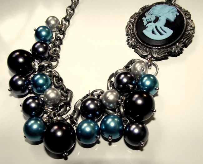 Blue and Black Skeleton Lady Necklace