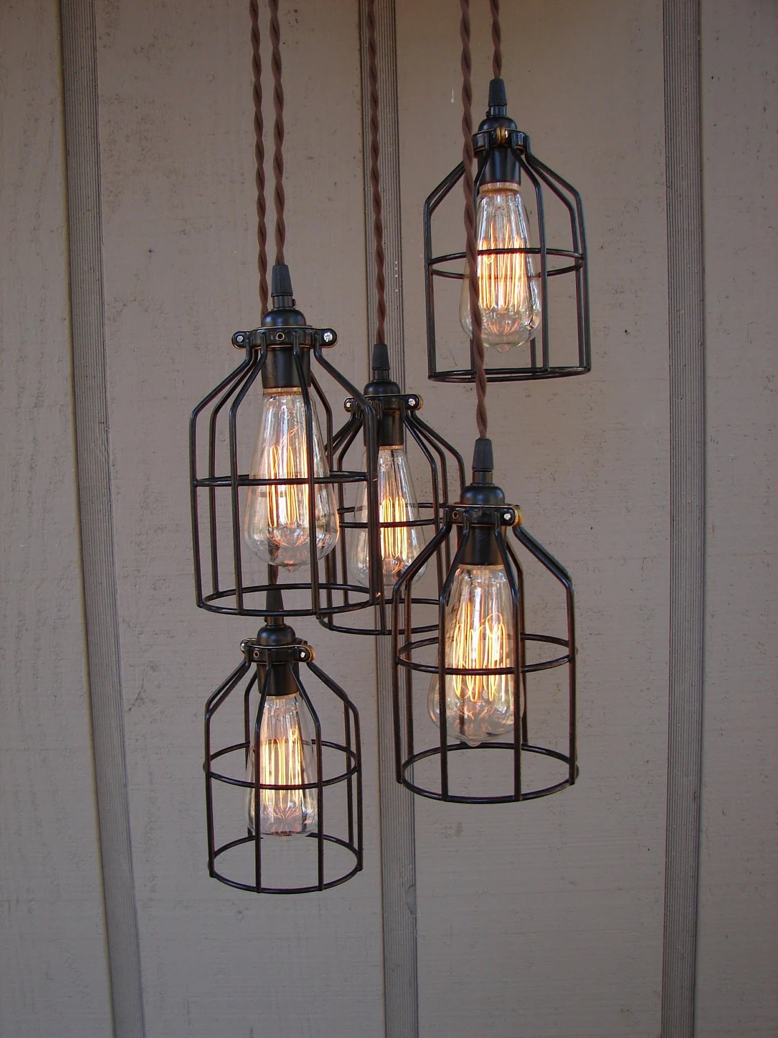 Diy Canvas Met Verlichting Reserved For Sarah 5 Light Industrial Bulb Cage Pendant With