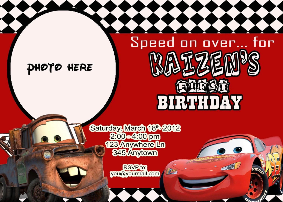Items Similar To Disney Pixar Cars Birthday Invitation