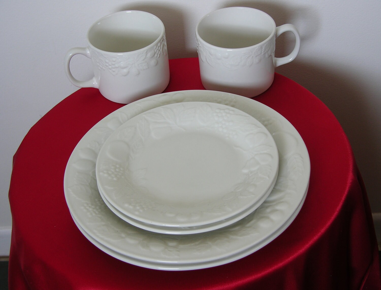 SaveEnlarge · Pitcher 64oz Embossed Fruit Leaves White Gibson Dinnerware & Gibson White Fruit Dinnerware - Castrophotos