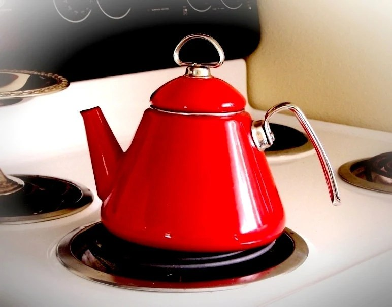 Deep Plate Vintage Teapot Chantal Retro Red Tea Kettle By Thewhitepelican