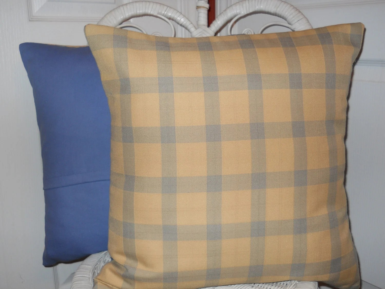 Blue Yellow Pillow Decorative Pillow Cover Pale Yellow Blue