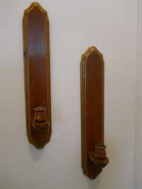 Wood Wall Sconce Pair-Vintage Wood Candle Holder Wall Sconces