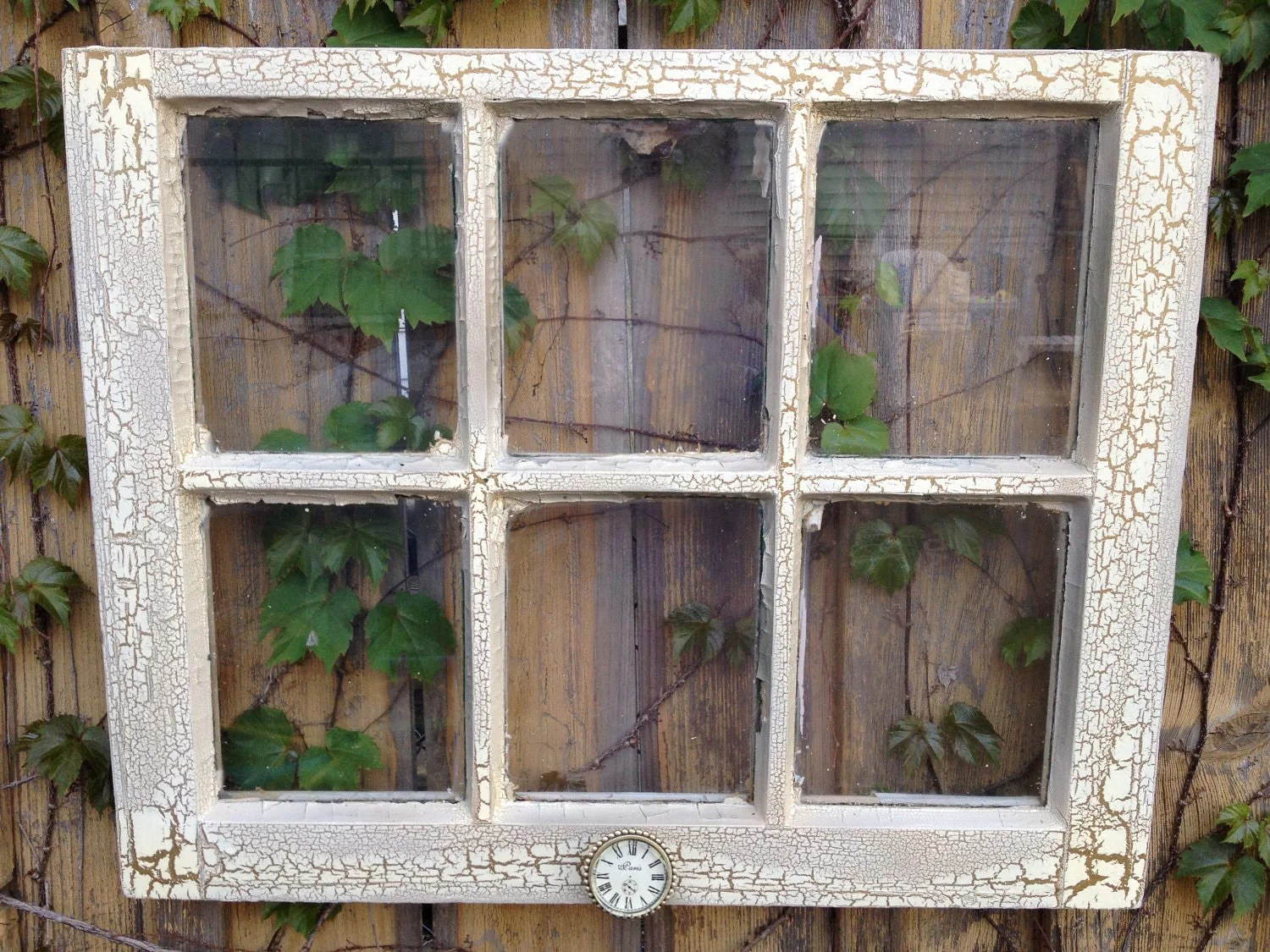 Windows On Sale Easter Sale Old Window Ivory And Bronze Crackle Frame