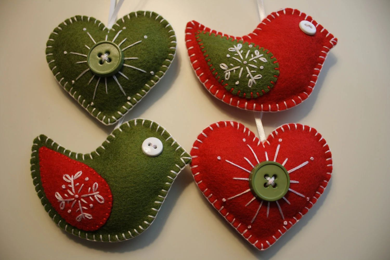 Idea felt christmas heart ornament feltornaments felt