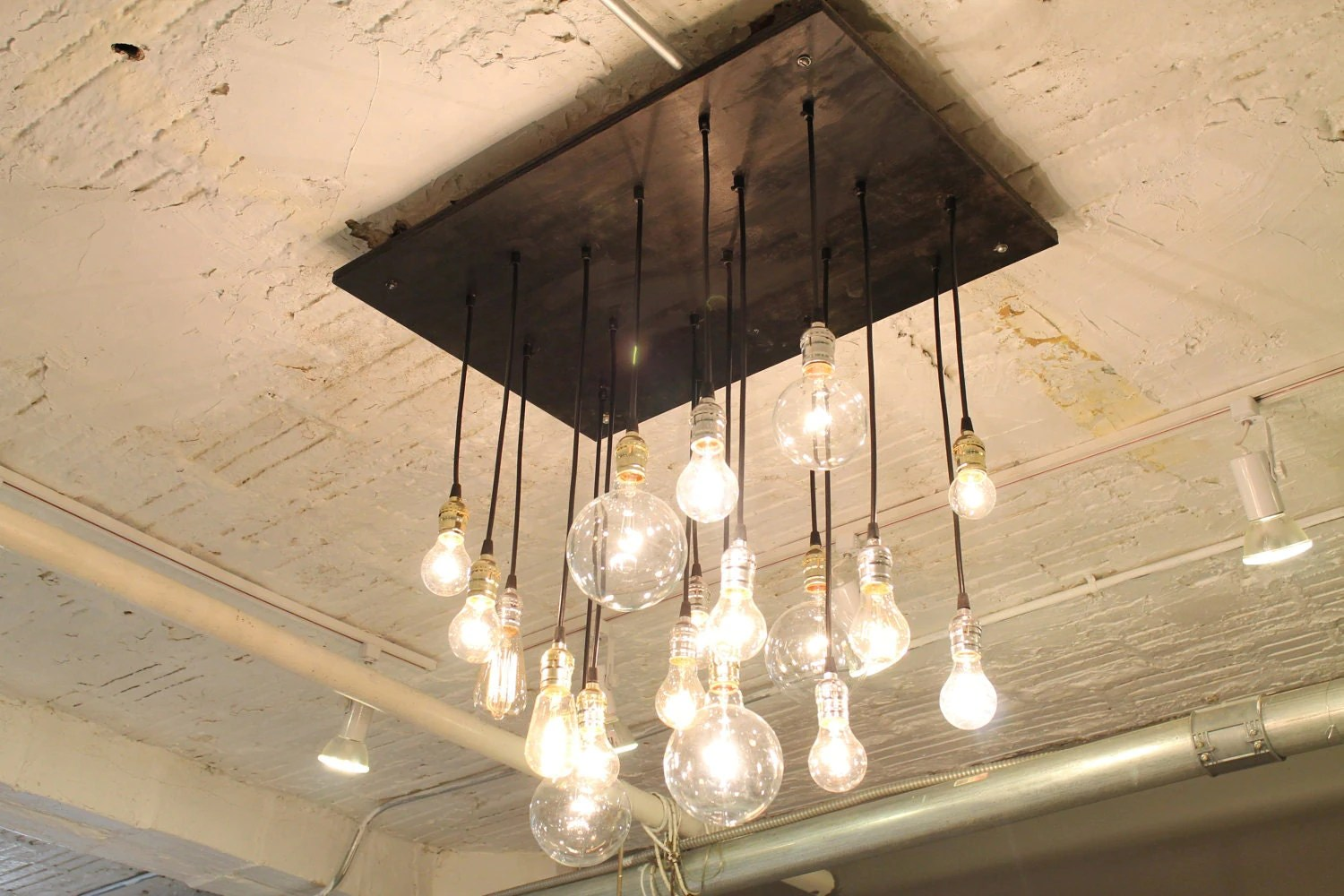 Old Industrial Lighting Industrial Chandelier With Vintage Bulbs Now In By Urbanchandy