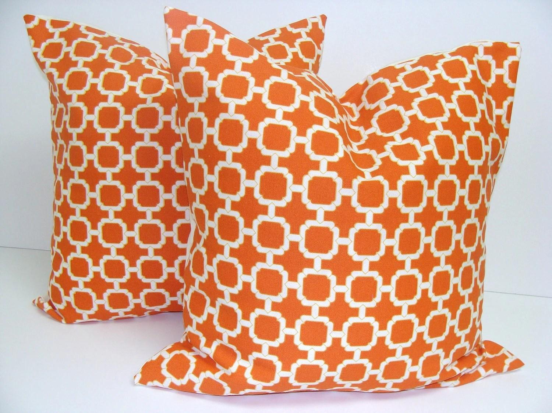 ORANGE OUTDOOR Pillows.SET Of Two. 18x18 by ElemenOPillows