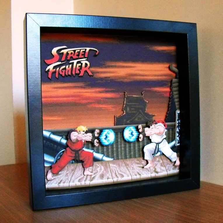 3d Street Figther Shadow Box Art