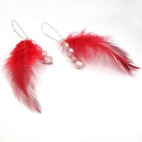 Red Feather Earrings with Pearls Handmade