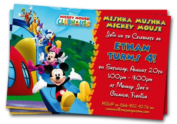 mickey mouse personalized birthday invitations