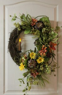Items similar to Front Door Wreath, Country Candle Wreath ...