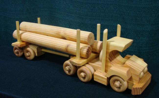 Items Similar To Wooden Toy Log Semi Truck Hand Made On Etsy