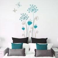 Garamba Exotic flowers wall decal grey/ teal