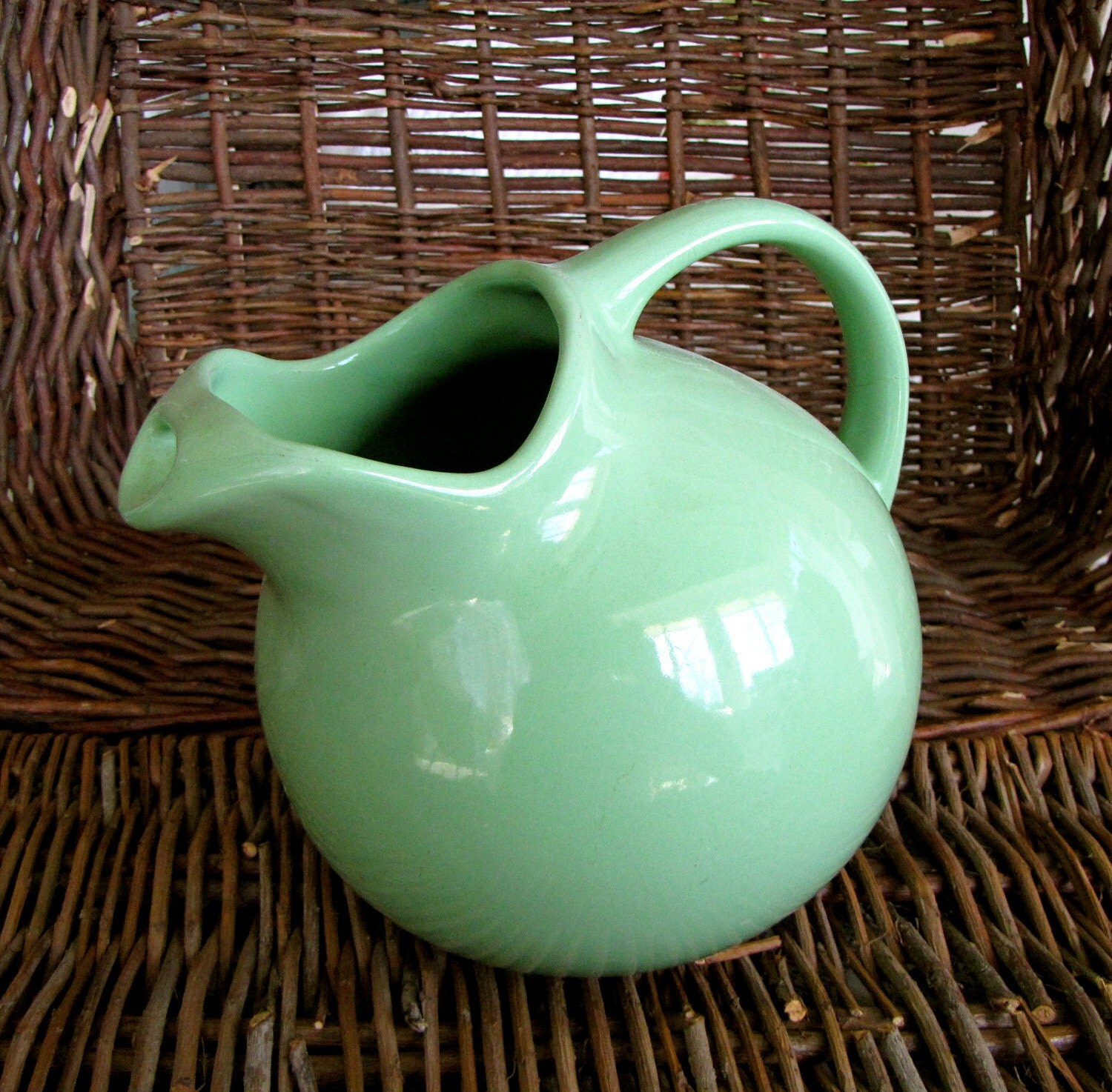 Water Pitcher Ceramic Water Pitcher Vintage Green Pottery