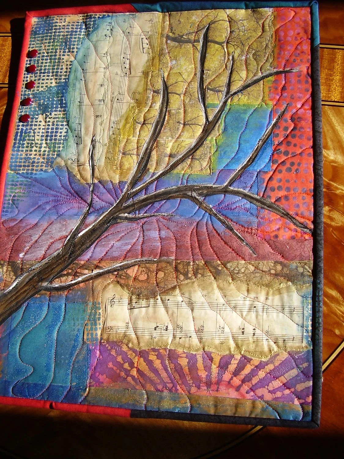 Tree Branch Contemporary Art Quilt Collage