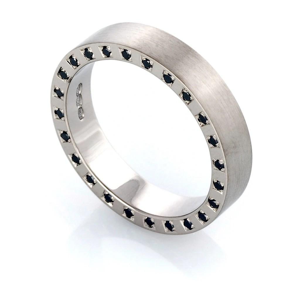 palladium ring black diamond wedding man wedding ring zoom