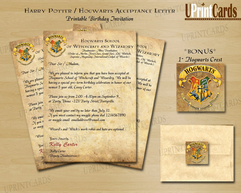 Printable Hogwarts Acceptance Letter Template Viewletterco
