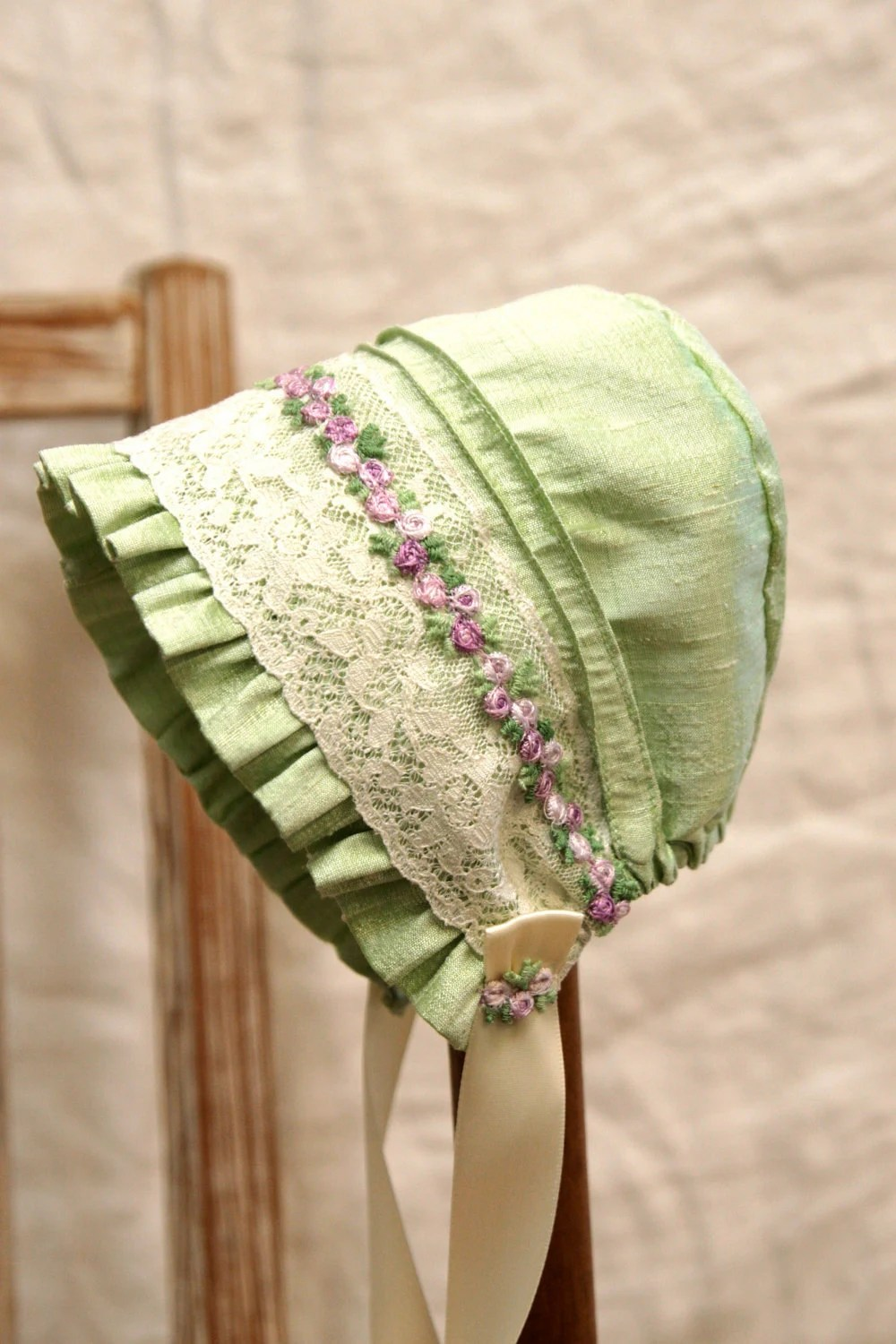 Baby Cradle Cloth Silk And Lace Baby Bonnet Infant Photo Prop Vintage