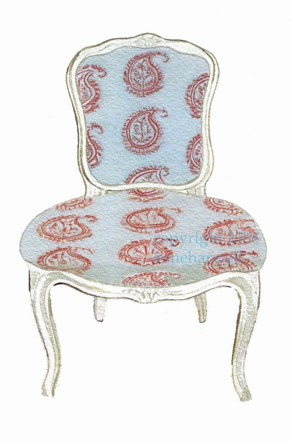 Blue Paisley Chair Print By Annechovie On Etsy