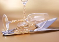 Wedding Cake Server Set And Crystal Toasting Flutes Hand
