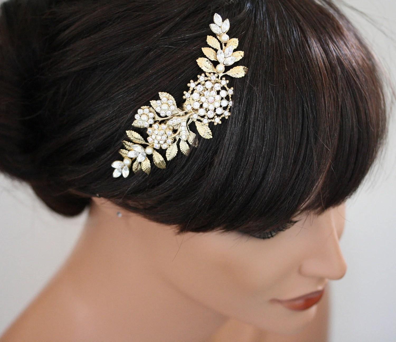 gold wedding hair piece bridal hair comb wedding hair pieces Wedding Hair Accessories Swarovski Rhinestone White Ivory zoom