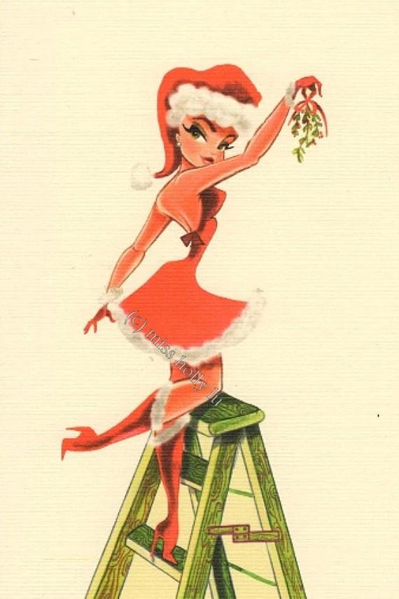Christmas Pin Up Girl Wallpaper Christmas Party Invitation Christmas Note Card Sexy Santa