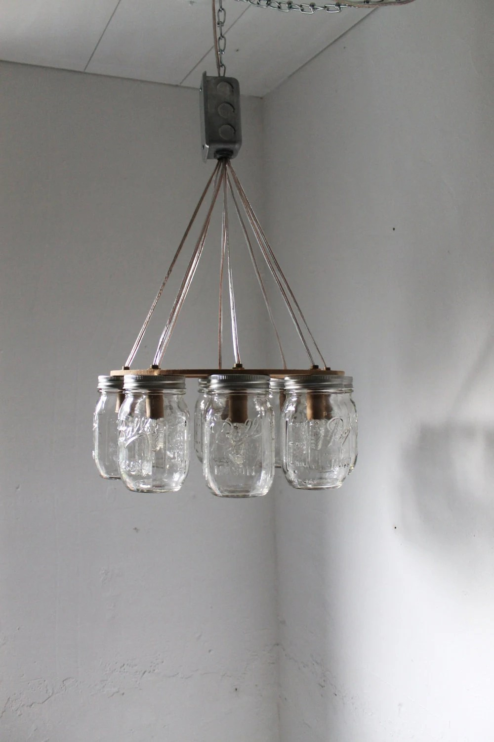 Wagon Wheel Chandelier Items Similar To Wagon Wheel Mason Jar Chandelier - Mason